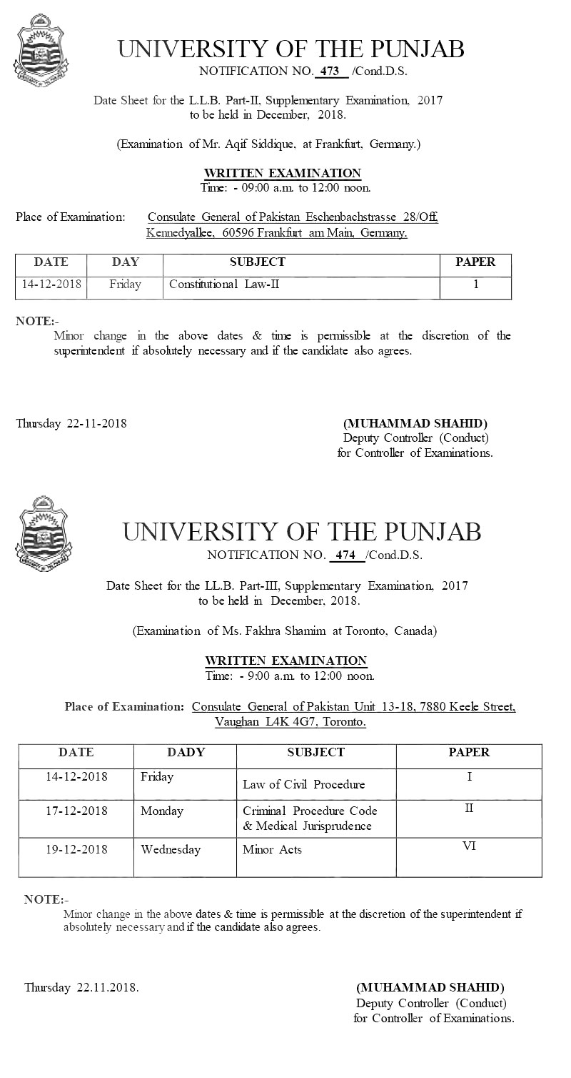 Madison : B a first year date sheet 2018 punjabi university