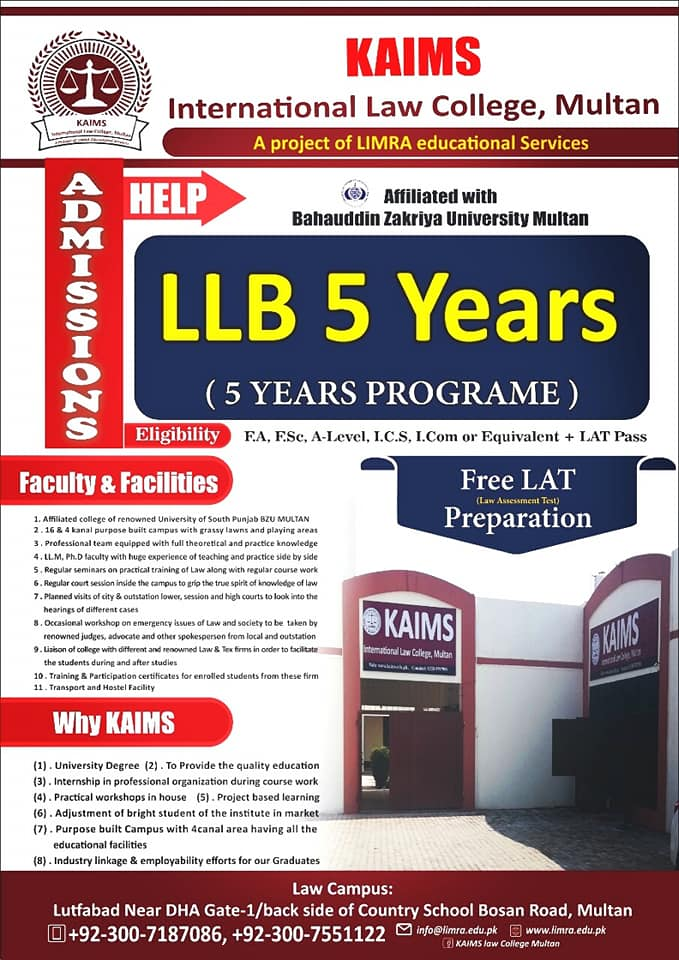 Kaims Law College Multan Admission 2020 LLB 5 Years