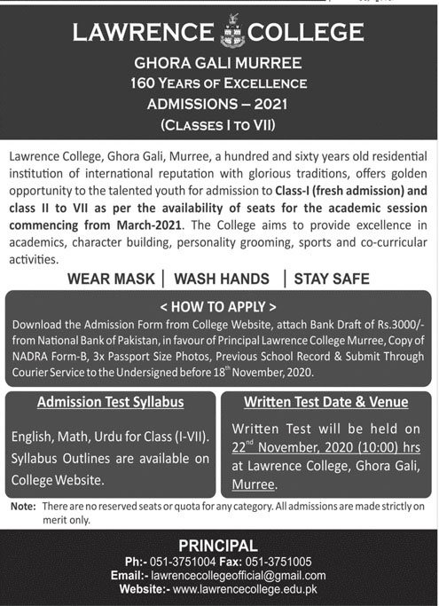 Lawrence College Murree Admission